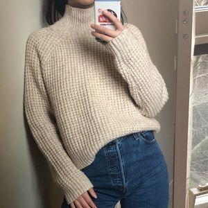 Aritzia oatmeal turtleneck sweater